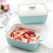 佳佰 陶瓷烘焙模具 烤碗布丁碗 酸奶碗 带盖双耳小烤盅 淡蓝色