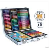 得力(deli)学生文具礼盒/儿童绘画用品大礼包78件套绘画套装(水彩笔蜡笔彩铅油画棒画画本)75401