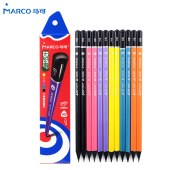 马可9008三角HB黑木6色沾顶铅笔12支纸盒装